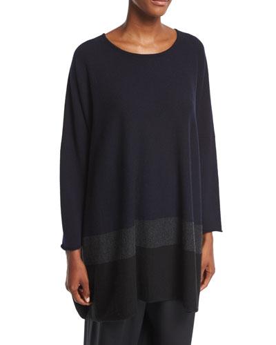 Sideways-Knit Cashmere Top