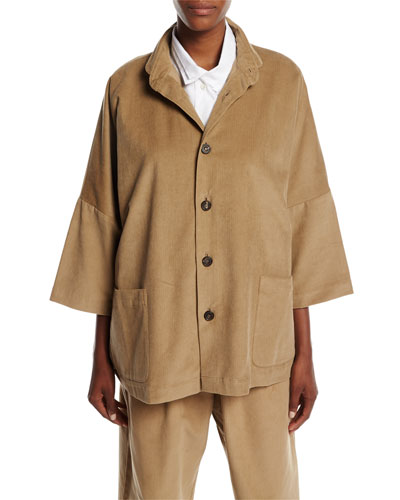 Slope-Shoulder Button-Front Corduroy Jacket