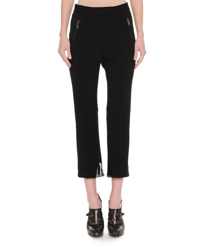 Cropped Leather-Trim Pants