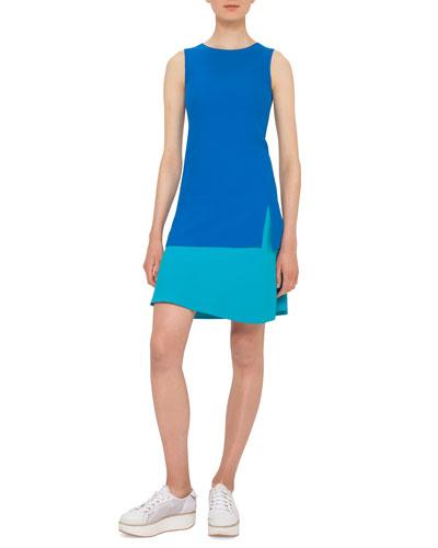 Colorblock Sleeveless Shift Dress, Azure/Turquiose