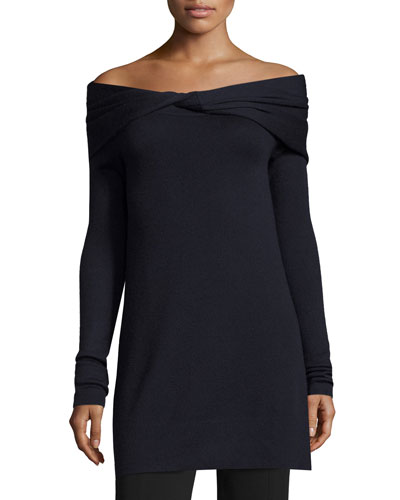 Twisted Off-Shoulder Long-Sleeve Tunic, Navy