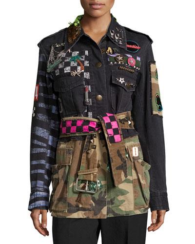 Embellished Camouflage Denim Jacket, Multi