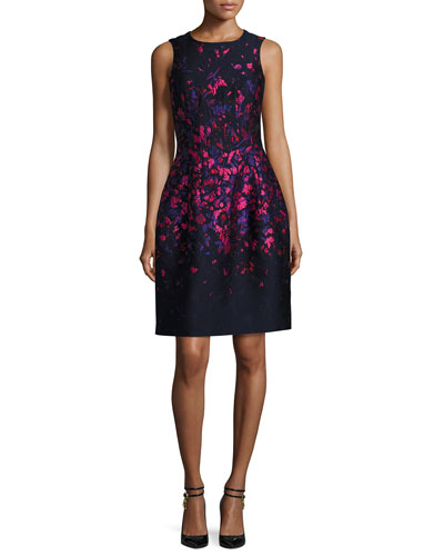 Floral-Embroidered Sleeveless Cocktail Dress, Navy/Hot Pink