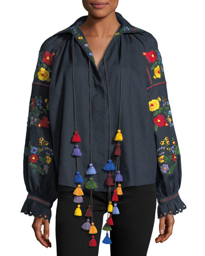 Floral-Embroidered Linen Top