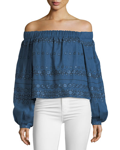 Embroidered Linen Off-the-Shoulder Top
