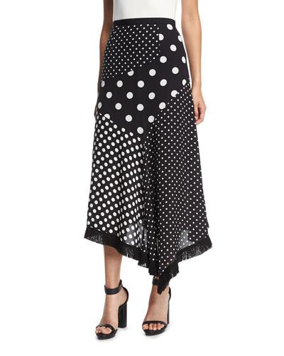 Asymmetric Polka-Dot Skirt w/ Fringed Handkerchief Hem