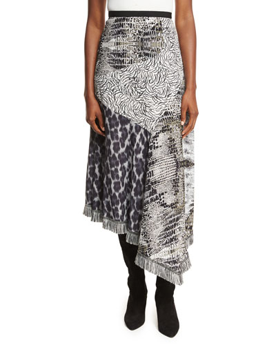 Asymmetric Animal-Print Patchwork Skirt