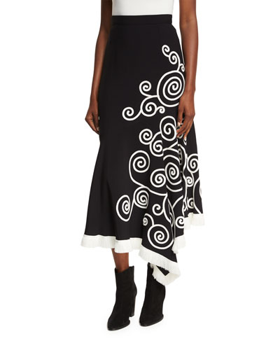 Swirl-Embroidered Midi Skirt