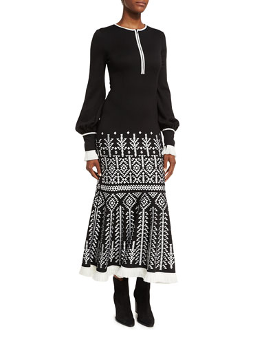 Geometric-Print Half-Zip Blouson Midi Dress