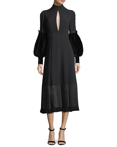 Mock-Beck Balloon-Sleeve Midi Cocktail Dress