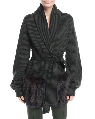 Knit Wrap Sweater w/Fur Pockets