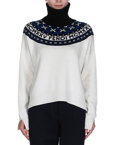 Logo Fair Isle Turtleneck Sweater