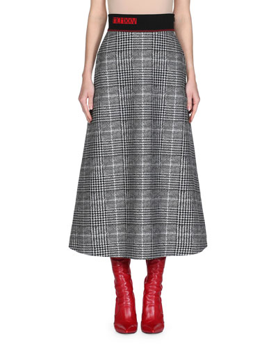 Prince of Wales Check Midi Skirt