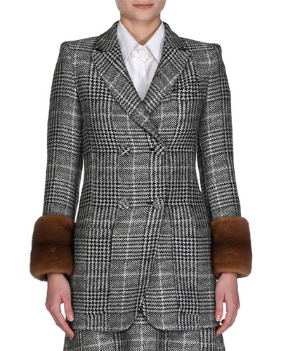 Mink-Cuff Prince of Wales Check Jacket