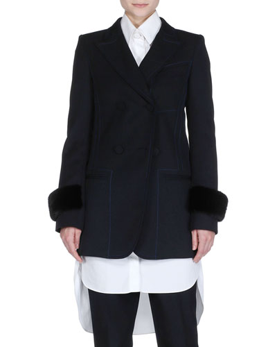 Mink-Cuff Gabardine Jacket