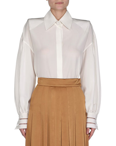 Crepe Blouse w/Illusion Cuffs