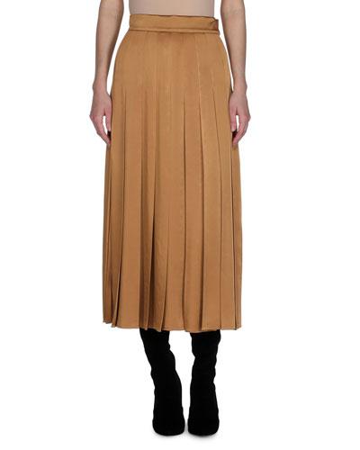 Pleated Satin Cady Midi Skirt