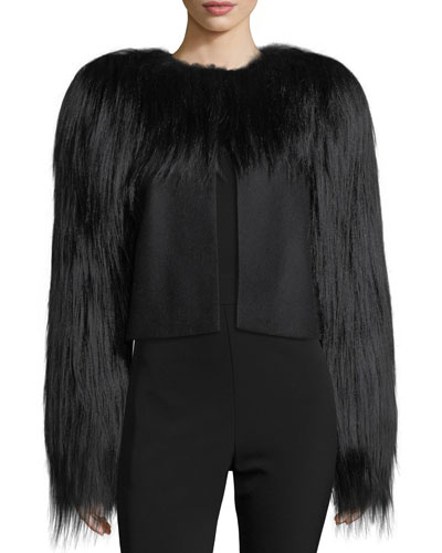 Fur-Trim Wool Jacket