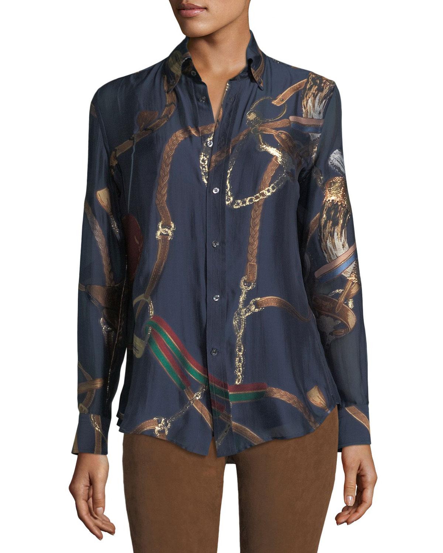 Cameron Equestrian-Print Georgette Shirt