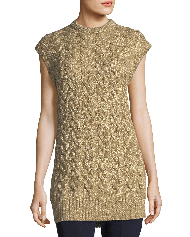 Metallic Cable-Knit Tunic Sweater