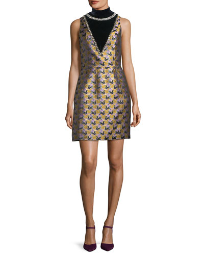 Verdi Swan Jacquard Mock-Neck Cocktail Dress