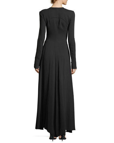 Long-Sleeve Button-Down Cady Maxi Dress