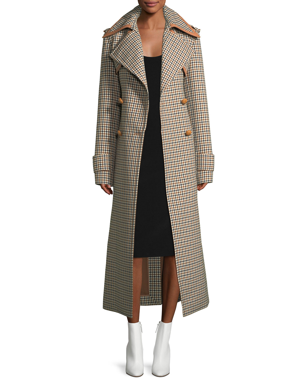 Long Check Wool Coat