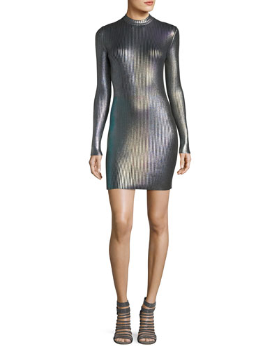 Long-Sleeve Foil Metallic Bodycon Mini Dress