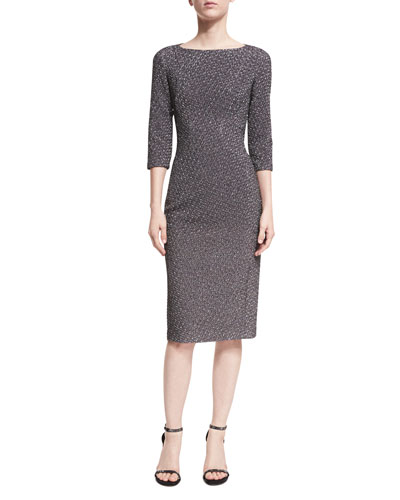 Metallic Dogtooth Boat-Neck Sheath Dress