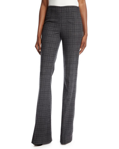 Plaid Stretch-Flannel Flare-Leg Pants