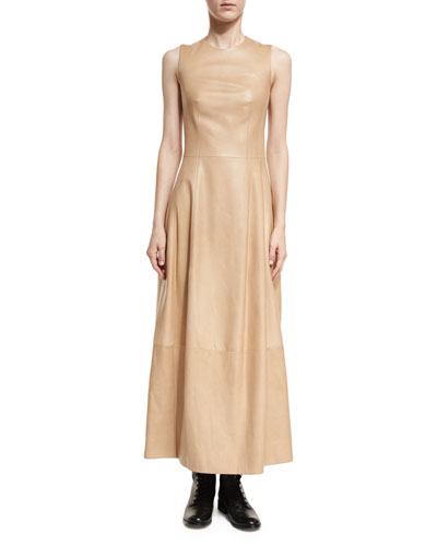 Bonec Sleeveless Leather Maxi Dress