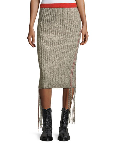 Melodie Ribbed Cashmere Pencil Skirt