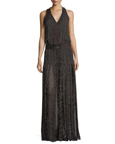 Sleeveless Leopard Silk Chiffon Belted Gown