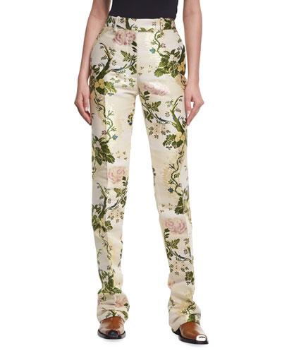 Floral Brocade Straight-Leg Pants