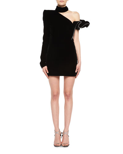 Crystal-Trim One-Shoulder Velvet Cocktail Dress