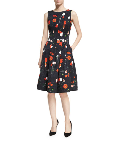 Poppy-Print Jacquard A-Line Dress