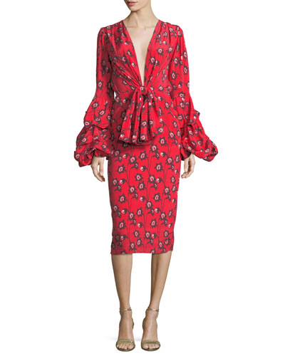 Dondola Plunging Bell-Sleeve Dress