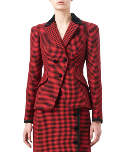 Paladini Velvet And Satin-Trimmed Houndstooth Wool Jacket in Red