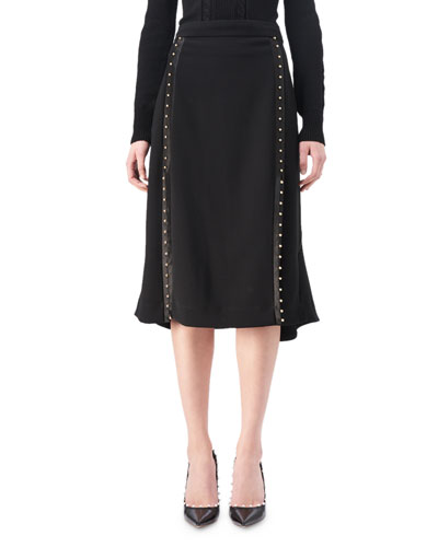 Welkes Studded Flounce-Hem Skirt