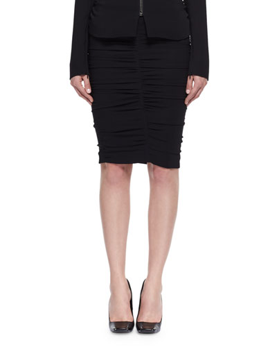 Shirred Cady Pencil Skirt