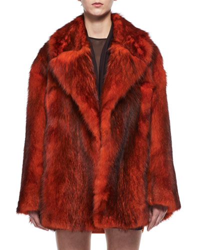 Oversized Bicolor Fox Fur Coat