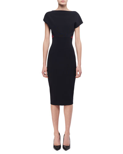 Short-Sleeve Backless Sheath Dress