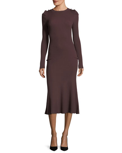 Long-Sleeve Ribbed Midi Dress
