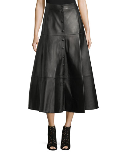 Button-Front Leather Midi Skirt