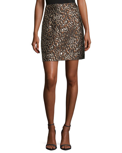 Leopard-Print Jacquard Skirt