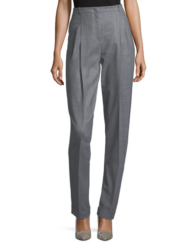 Cuffed Pleat-Front Trousers