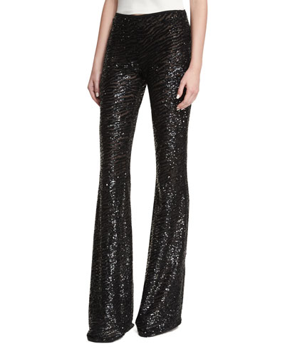 Sequined Zebra-Stripe Pants