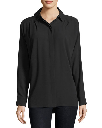 Oversized Button-Down Silk Blouse