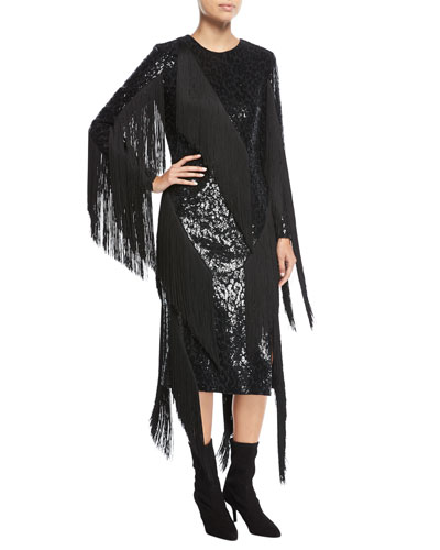 Paillette Crewneck Fringed Dress