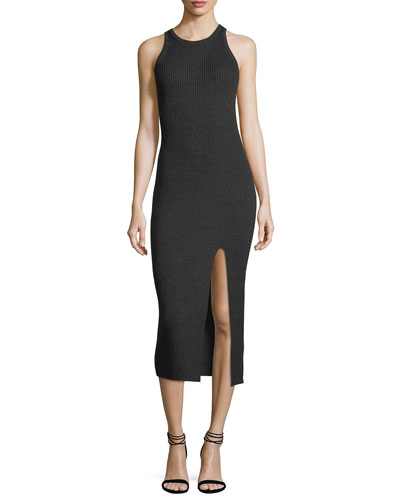 Sleeveless Ribbed Merino Midi Dress